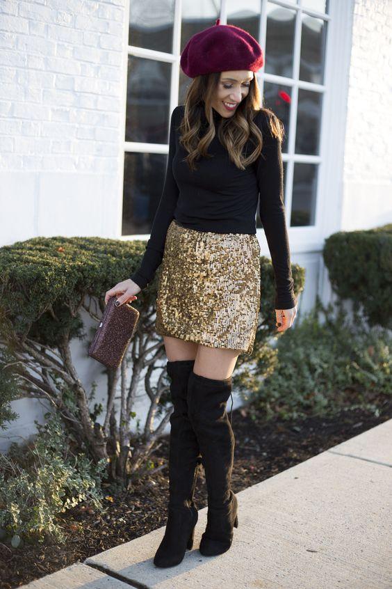 золотистая юбка с пайетками