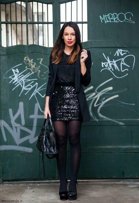 черная юбка с пайетками