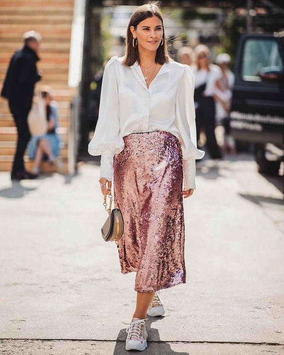длинная юбка с пайетками